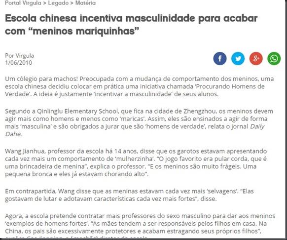 Escola chinesa combate mariquinhas
